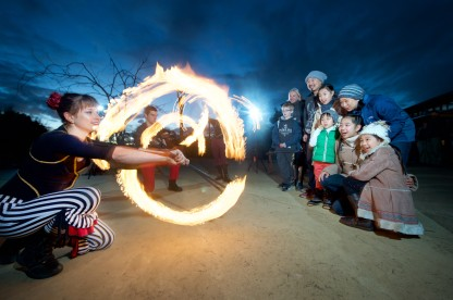 7250_Fire Performers with Visitors_Werribee Open Range Zoo
